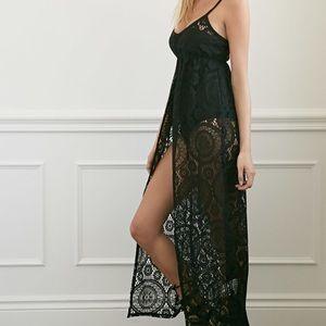 F21 black lace coverup